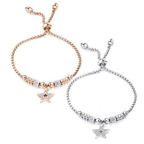 Mode Bracelet Perles Creuses Etoile Étoile Bracelet Réglable Bracelet En Acier Titane Plaqué Or Rose NHOP203691's discount tags