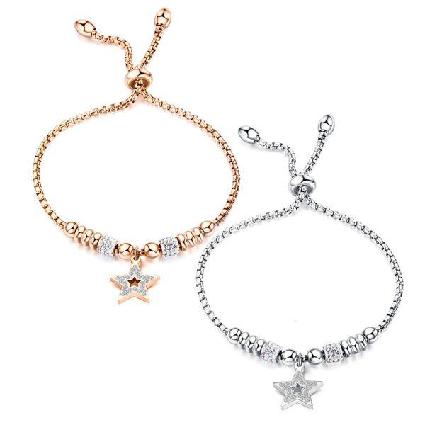 Moda Hollow Beads and Diamonds Star Pulsera Pulsera ajustable Pulsera de acero de titanio chapado en oro rosa NHOP203691