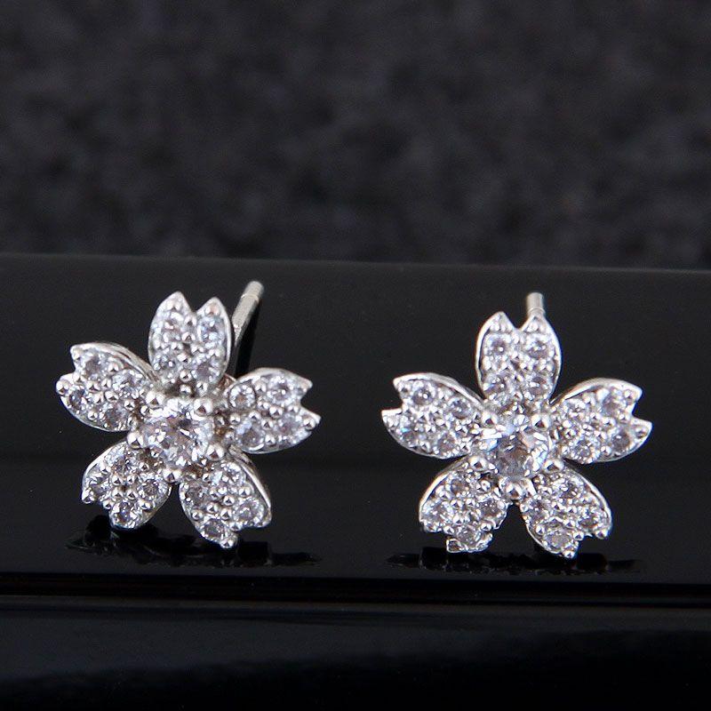 Korean Fashion Sweet Zirconium Simple Flower Stud Earrings whoesales yiwu NHSC203738