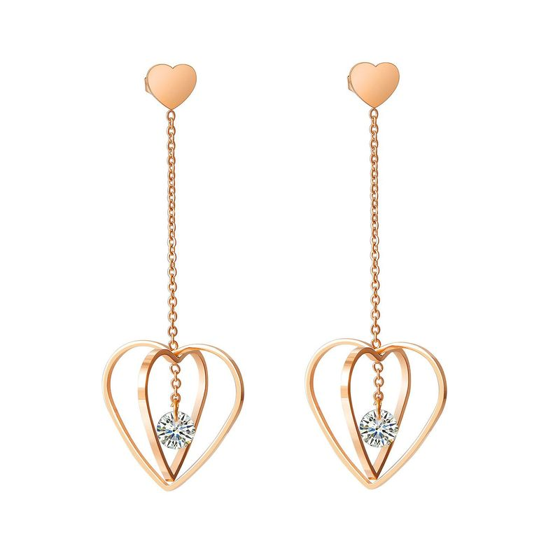 New Titanium Steel Inlaid Zircon Heart Earrings Rose Gold Plated Tassel Long Stud Earrings NHOP203694