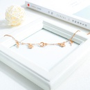 Korean Jewelry Fashion Simple Female Rose Gold Plated Foot Rings Double Ring Hexastar Titanium Steel Anklet NHOP203695