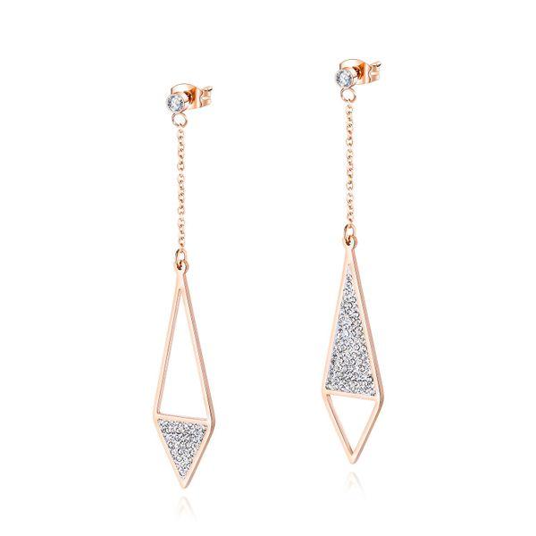 Korean fashion earrings titanium steel ladies earrings zircon diamond full diamond earrings female wild tassel earrings NHOP203696