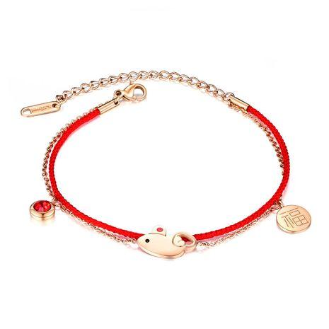 Bracelet double en corde rouge tissé pour femmes chanceux transfert zodiaque rat année natale corde à main NHOP203698's discount tags