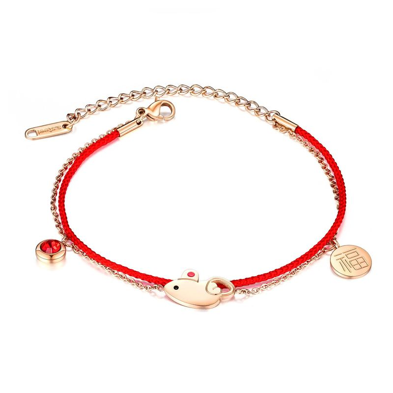 Woven red rope double bracelet for women lucky transfer zodiac rat natal year hand rope NHOP203698