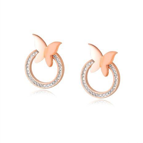 Boucles d'oreilles papillon coréen simple femmes Boucles d'oreilles cercle incrusté de zircon NHOP203708's discount tags