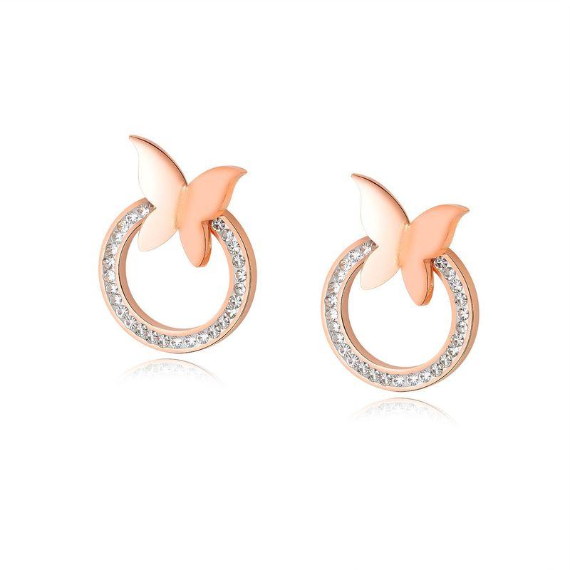 Simple Korean Butterfly Earrings Women Inlaid Zircon Circle Earrings NHOP203708