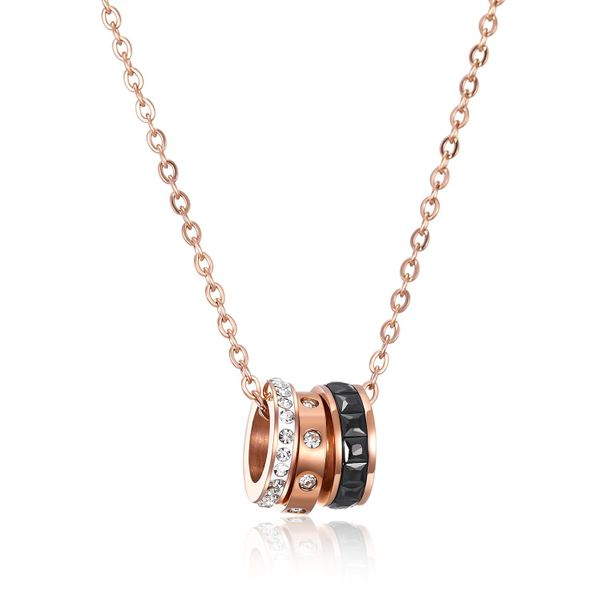 Rose gold-plated three-piece clavicle chain titanium steel ladies diamond necklace NHOP203719