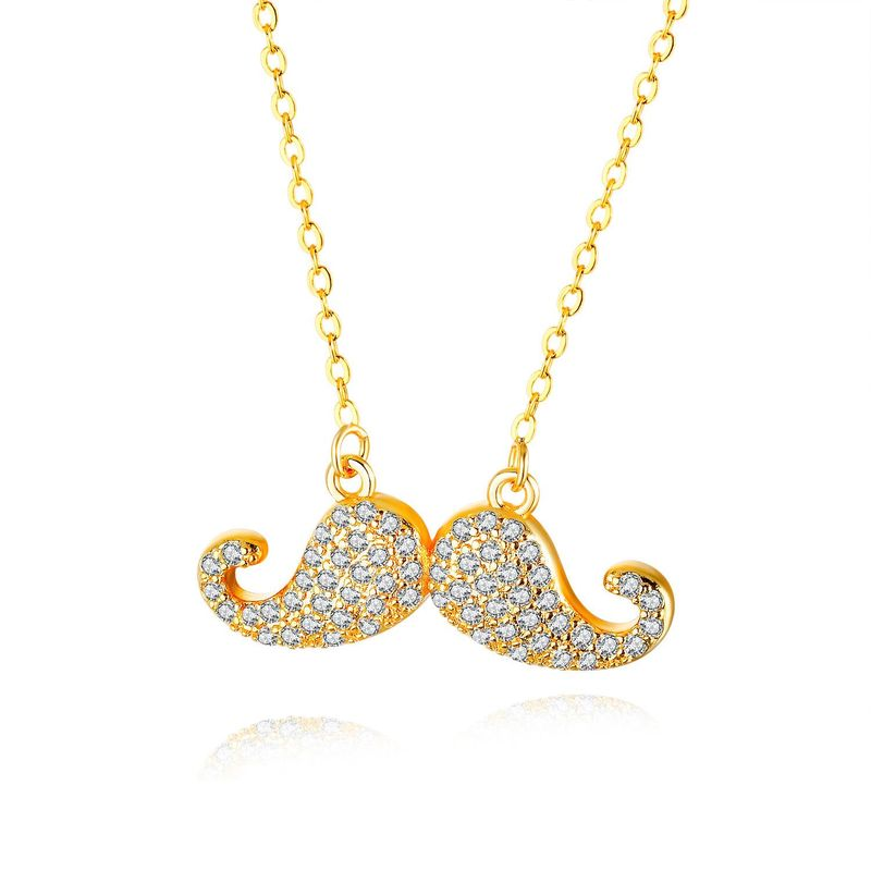New Micro Zircon Bearded Necklace Women Fashion Copper Plated Gold Ladies Necklace NHOP203721