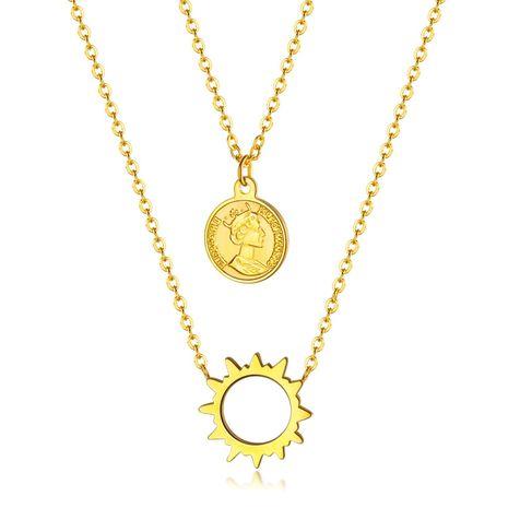 Coréen double anneau diamant pendentif femelle simple anneau verrouillage collier dames titane acier chaîne de clavicule NHOP203722's discount tags