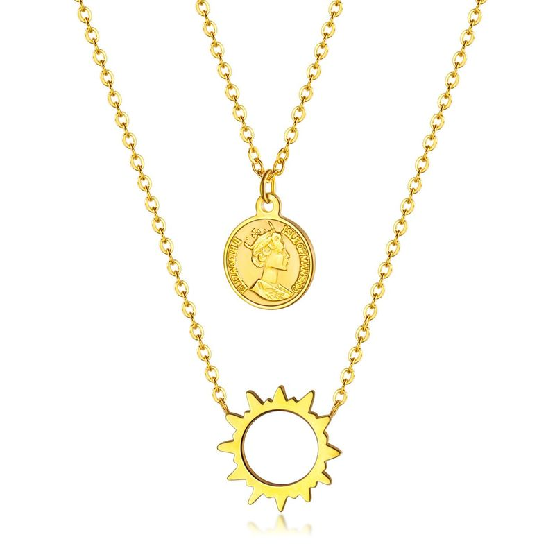 Korean double ring diamond pendant female simple ring interlocking necklace ladies titanium steel clavicle chain NHOP203722