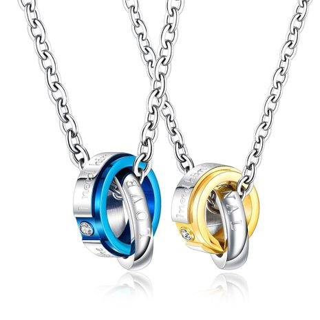 Fashion stainless steel double ring diamond pendant titanium steel couple necklace NHOP203723's discount tags