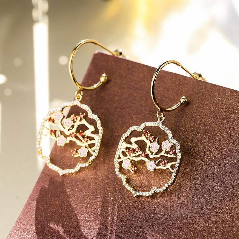 Palace style plum fashion earrings female new 925 silver needle circle wild earrings NHPP203732