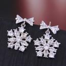 925 Silver Pin Korean Fashion Studded Snowflake Stud Earrings wholesales yiwu suppliers china NHSC203734
