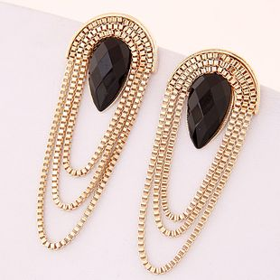 New fashion metal trendy simple fringed exaggerated earrings wholesale NHSC204349's discount tags