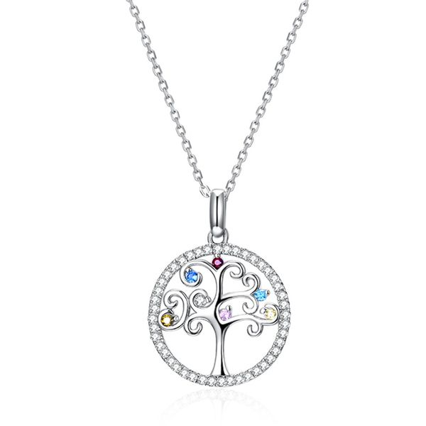 S925 Sterling Silver Necklace Fashion Colorful Life Tree Necklace Wholesale NHKL203804