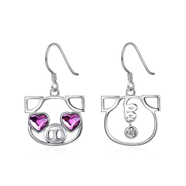 S925 Sterling Silver Pig Cute Earring Wholesale NHKL203806