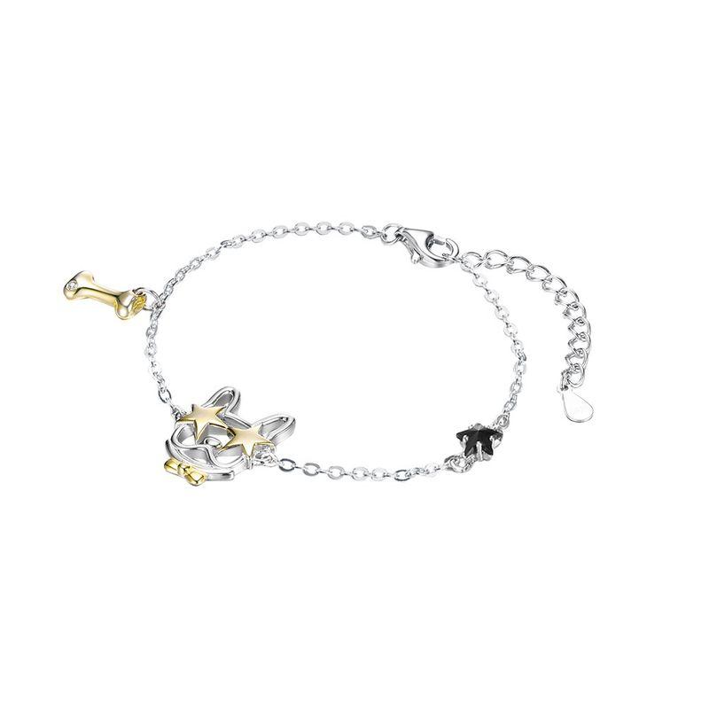 S925 sterling silver cute puppy bone star separation bracelet NHKL203812