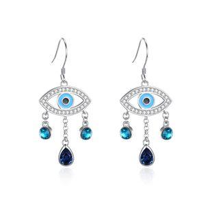 S925 Sterling Silver Water Drop Bohemian Devil Eye Earrings NHKL203813's discount tags