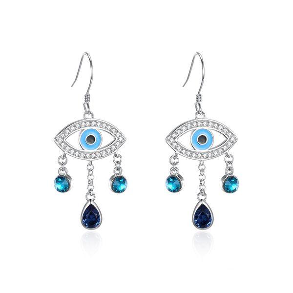 S925 Sterling Silver Water Drop Bohemian Devil Eye Earrings NHKL203813