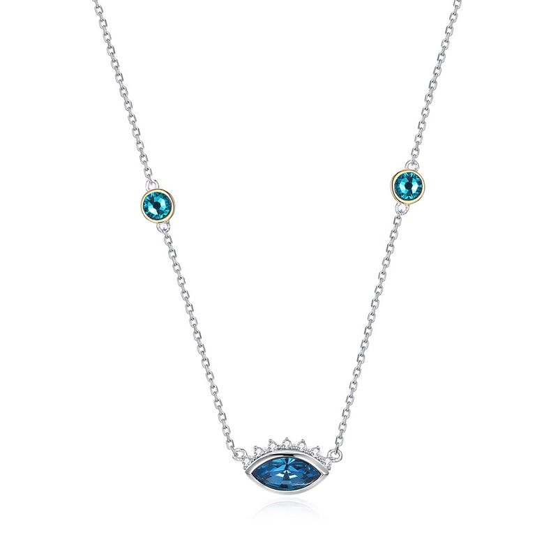 S925 Sterling Silver Trend Devil's Eye Pendant Necklace NHKL203814