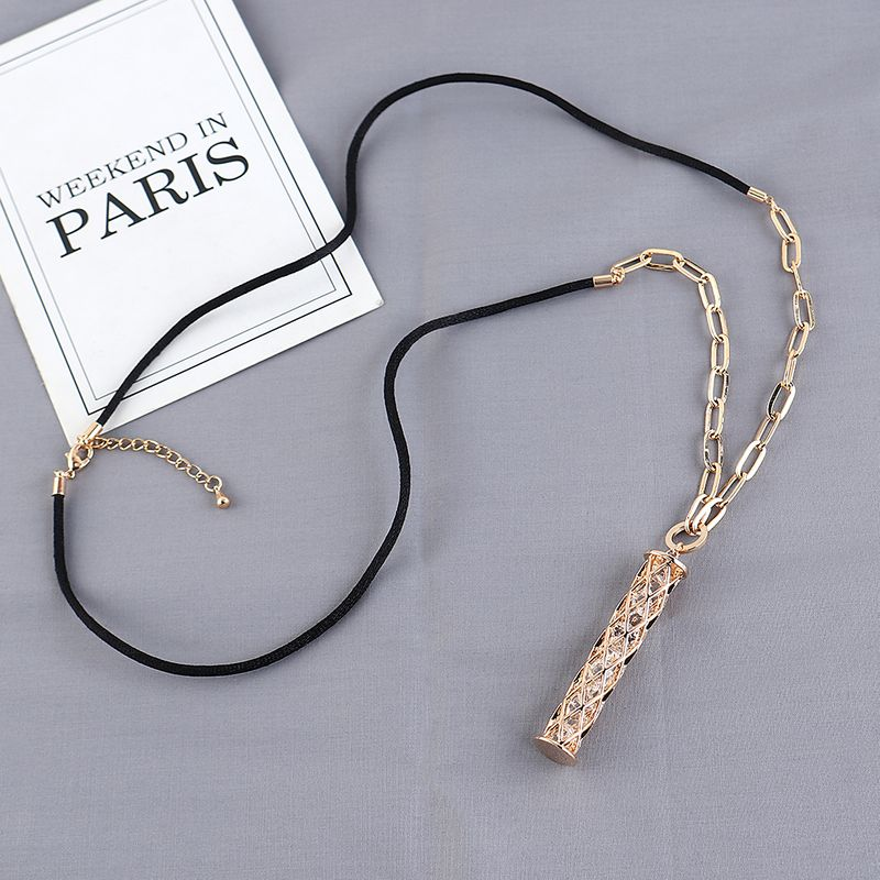 New fashion simple zircon ladies sweater chain wholesale NHPS203839