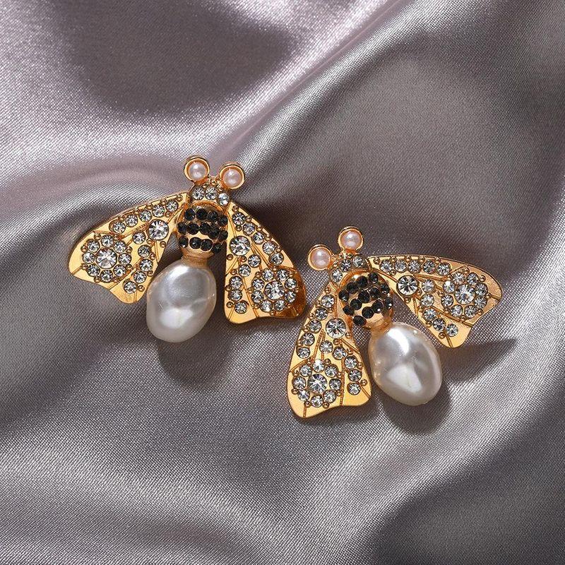 Fashion new bee diamond earrings new super flash earrings NHJQ203654