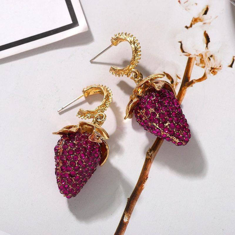 Sweet and cute fruit strawberry earrings new fashion wild diamond earrings NHJQ203647