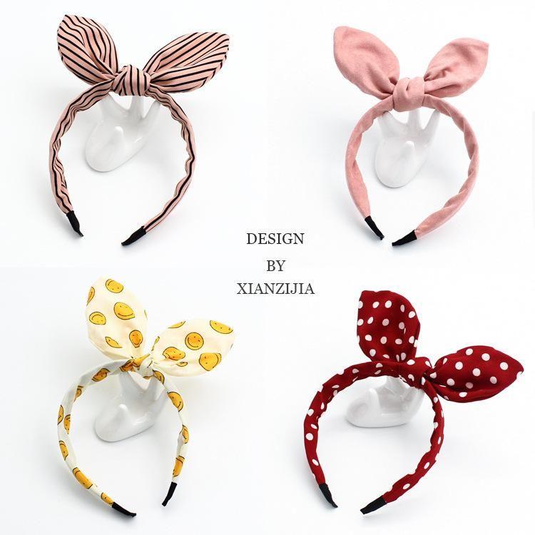 New fresh rabbit ears hair hoop wire fabric simple headband sweet cute hair lead with hair accessories NHOF203844