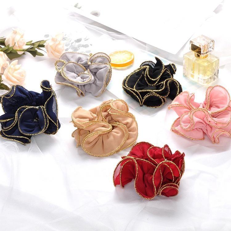 Korean simple hair accessories wild gold silk cloth wave cheap hair ring wholesale NHOF203843