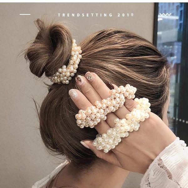 Girl imitation pearl simple Korean hair ring sweet fresh cheap elastic band hair headband NHOF203845
