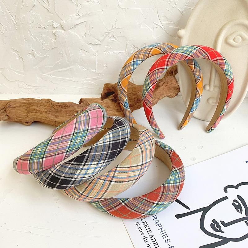 Plaid headband solid color bright color simple cloth hair hoop hair accessories ladies wholesale NHOF203848