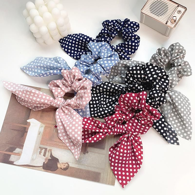 Korean cloth big bow hair ring wild chiffon cheap hair rope wholesale NHOF203856