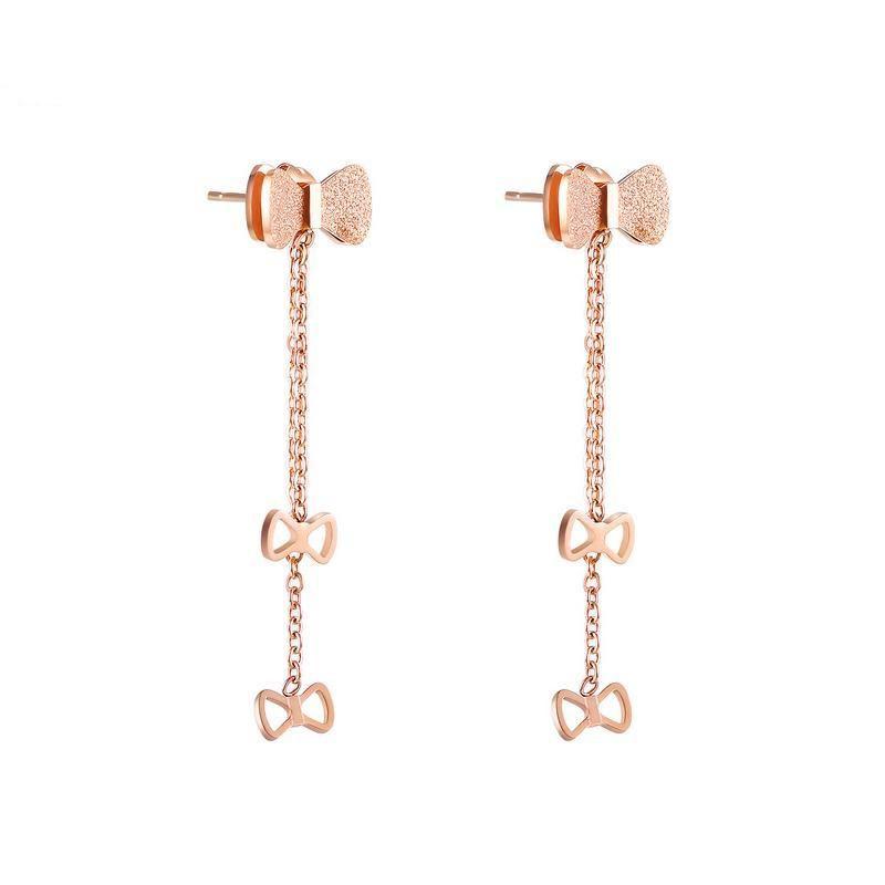 Titanium Steel Stud Earrings Fashion Bow Tassel Earrings Rose Gold Plated Ladies Earrings NHOP203717
