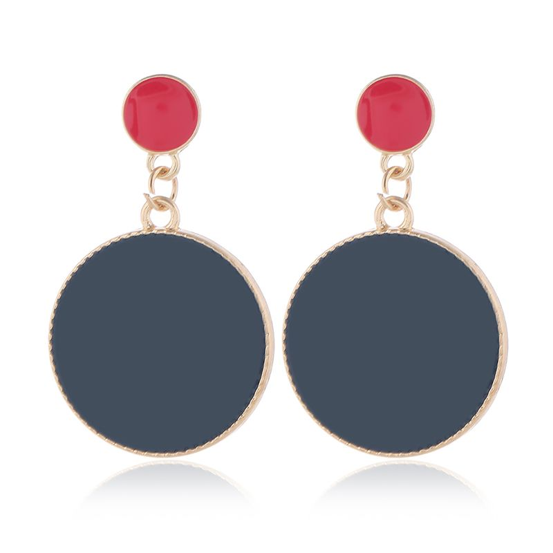 Fashion Metal Contrast Round Exaggerated Earrings Wholesale NHSC204344