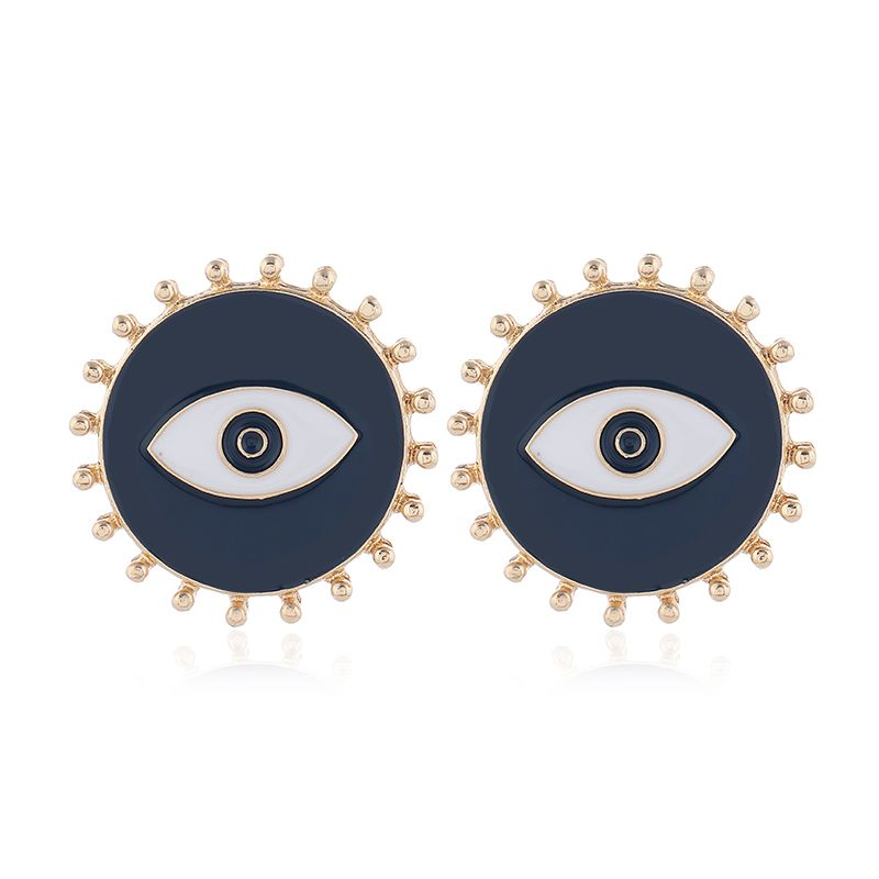 Yi wu jewelry new fashion metal contrast color demon eyes exaggerated earrings wholesale NHSC205750