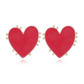 Yi wu jewelry new fashion metal contrast color love earrings wholesale NHSC205751