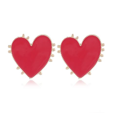 Yi wu jewelry new fashion metal contrast color love earrings wholesale NHSC205751's discount tags