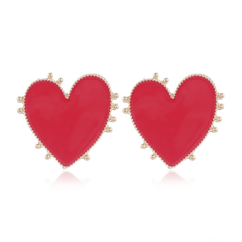 Yi wu jewelry new fashion metal contrast color love earrings wholesale NHSC205751