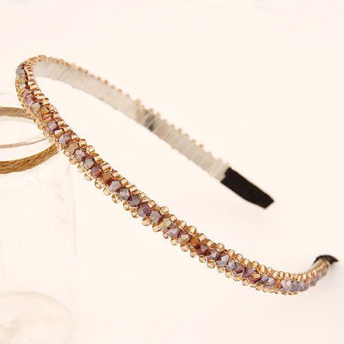 Korean fashion hand-made beaded crystal braided hair hoop NHSC199666