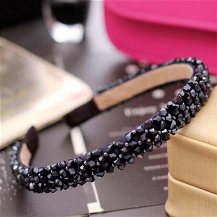 Korean luxury crystal temperament female handmade beaded woven wide hair accessories hair hoop NHSC199665