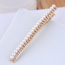 Wild metal flash diamond pearl simple hair clip word clip edge clip hair accessories NHSC199660