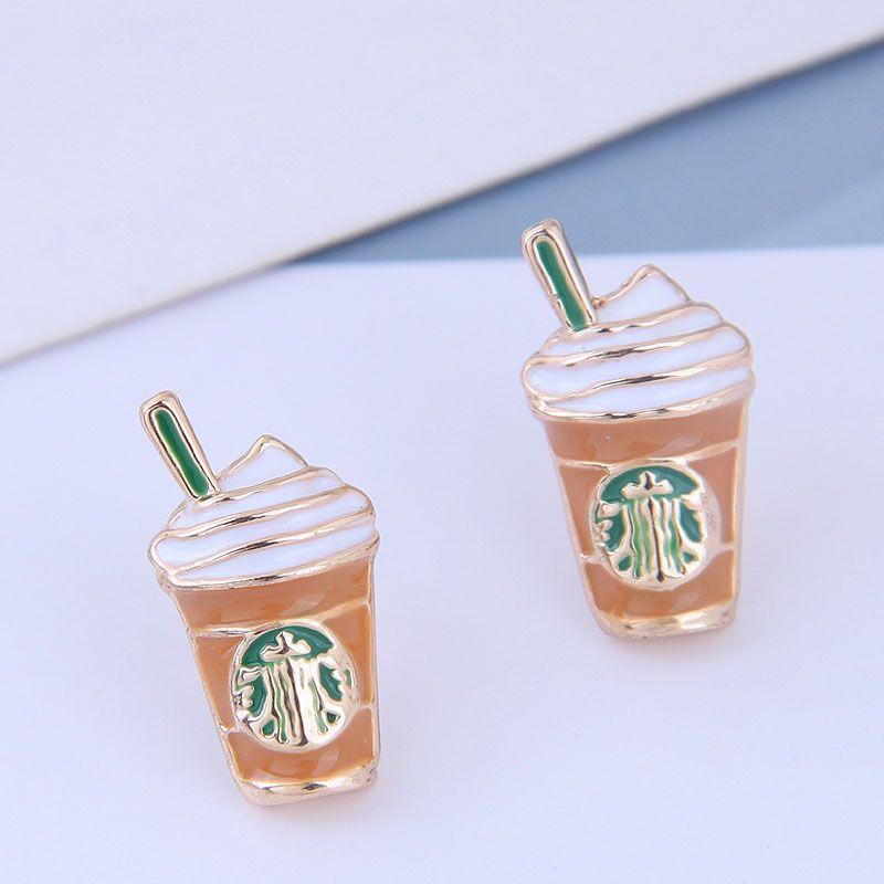 925 Silver Needle Delicate Korean Fashion Sweet OL Simple Milk Tea Cup Personality Earrings NHSC199653
