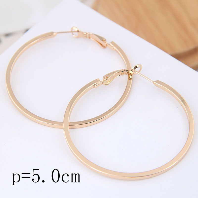 50mm boutique Korean fashion metal simple and smooth personality earrings NHSC199650
