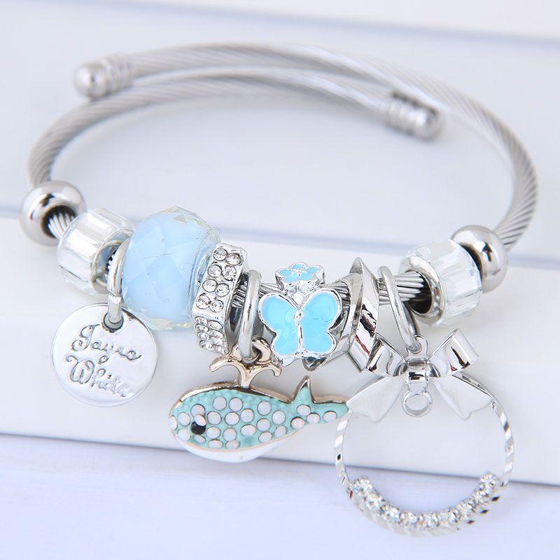 Fashion metal wild bow simple circle dolphin multielement pan simple bracelet NHSC199644