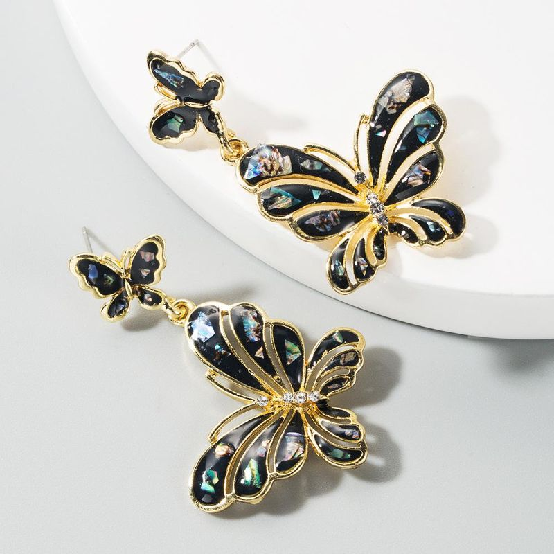 Fashion multilayer butterfly-shaped alloy drop oil and diamond earrings exaggerated long new earrings NHLN199330