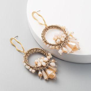 Pendientes geométricos tejidos a mano de moda con forma de abanico, cuentas de perlas largas boho para mujer NHLN199333's discount tags