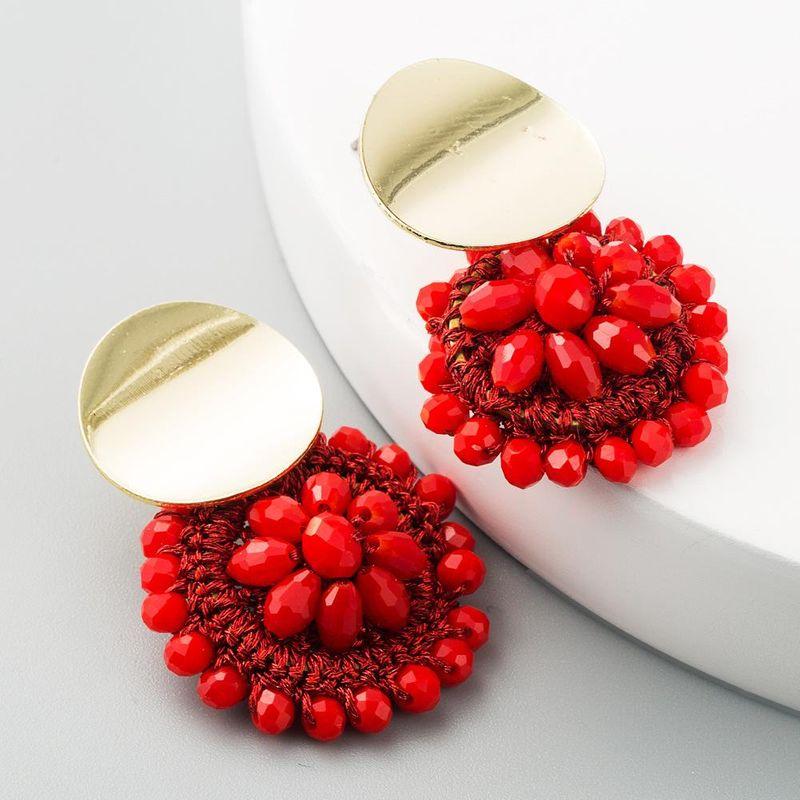 Nihaojewelry Explosion Flower Earrings Alloy Hand Beaded Boho Valentine wholesales fashion NHLN199334