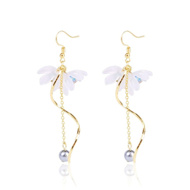 Nihaojewelry simple lily flower fringed explosion female earrings wholesale NHJJ199343