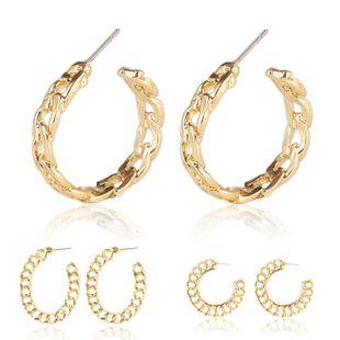 Nuevos pendientes de aro metálicos de cadena simple Pendientes huecos de estilo europeo y americano Pendientes femeninos NHJJ199344's discount tags