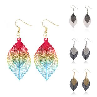 Nihaojewelry Aretes de hoja Dorados Pendientes de hoja de corte doble simple al por mayor de moda NHJJ199347's discount tags